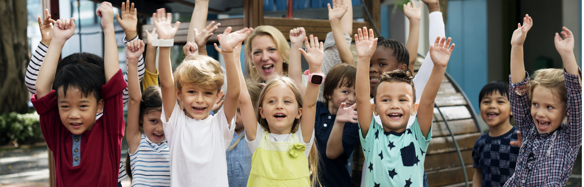 kids raising their hands